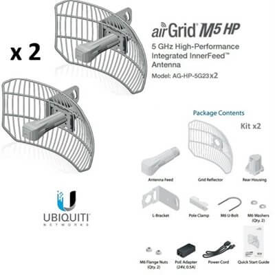 UBIQUITI AirGrid M5 AG-HP-5G23x2 2 units - CPE access point outdoor POE 5GHz 23dBi