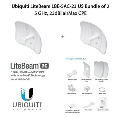 Ubiquiti LiteBeam LBE-5AC-23 X2 UNITS - CPE access point outdoor POE 5GHz AC 23dBi