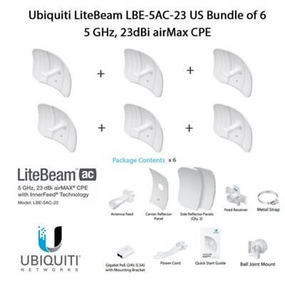 Ubiquiti LiteBeam LBE-5AC-23 X6 UNITS - CPE access point outdoor POE 5GHz AC 23dBi
