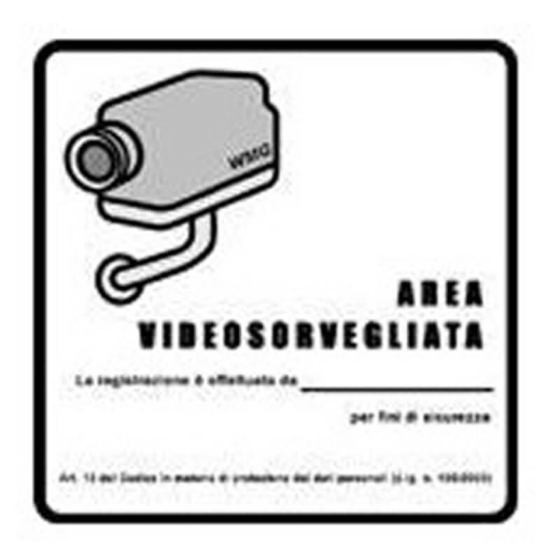 Adesivo obbligatorio per aree videosorvegliate - ADESIVO AREA VIDEOSORVEGLIATA PVC