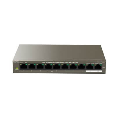 TENDA TEF1110P-8-102W 8-Port10/100Mbps+2 Gigabit Desktop Switch With 8-Port PoE