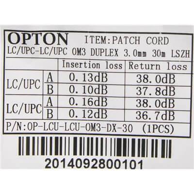 PatchCord multimodale LC-LC 50/125um OM3 MM duplex 30m OPTON - OP-LCU-LCU-OM3-DX-30