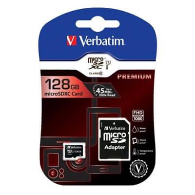 MEMORY CARD MICROSD VERBATIM 128GB C10 44085 CON ADATTATORE SD