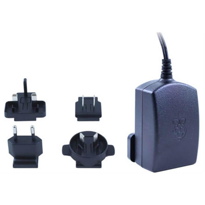 5.1 V dc, 2.5 A Alimentatore ufficiale Raspberry Pi 3 nero