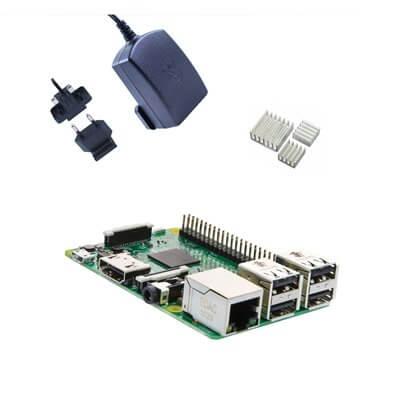 Raspberry Pi 3 Kit Black (E02) con Alimentatore Ufficiale e Dissipatori