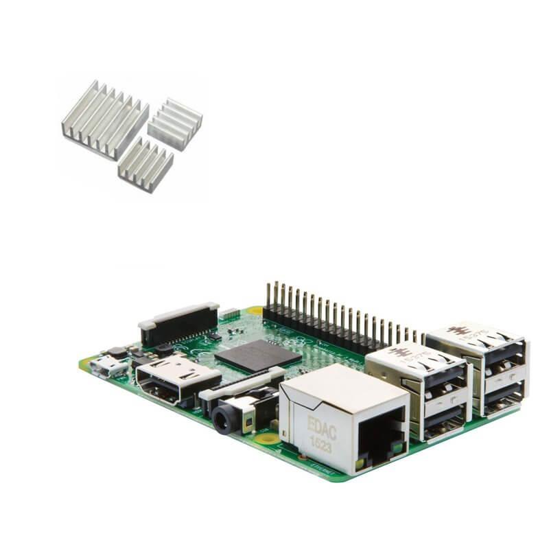 Raspberry Pi 3 Model B con dissipatori di calore (E03)
