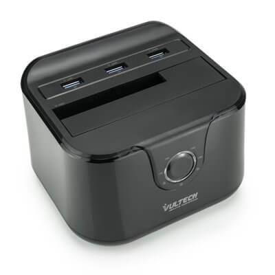 VULTECH DOCKING STATION USB 3.0 - SUPPORTA 1 HDD SATA - 3 PORTE USB 3.0 - QUICK CHARGE - NERO