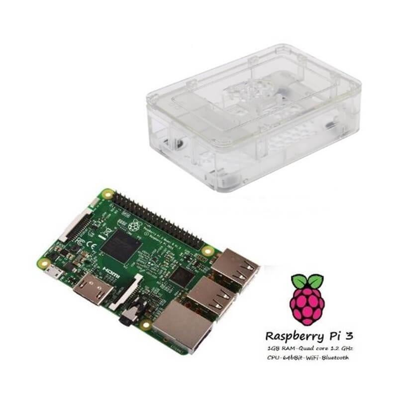 Raspberry Pi 3 Model B (1GB) + Contenitore Case CLEAR Kit (E08)