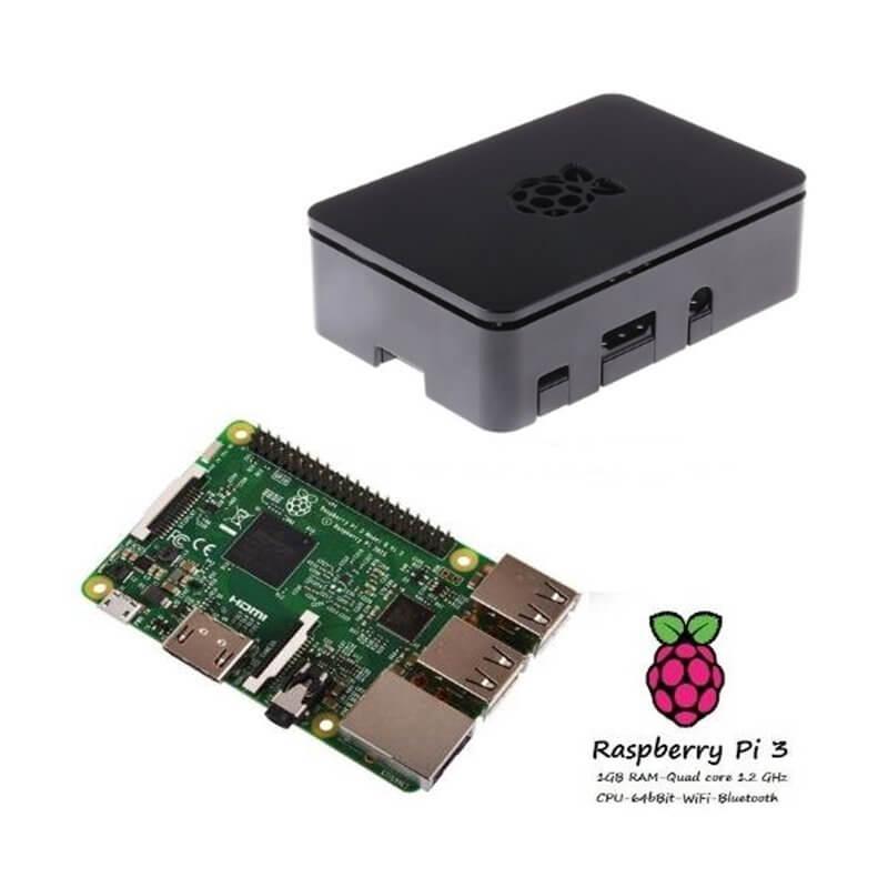 Raspberry Pi 3 Model B (1GB) + Contenitore Case nero Kit (E09)