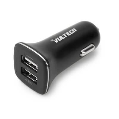 VULTECH CARICATORE DA AUTO CON DOPPIA USCITA USB (MAX 4.8A) - CA-048
