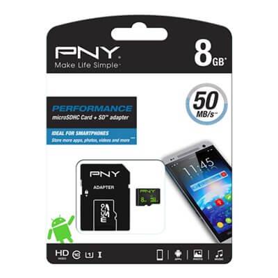 MEMORY CARD MICROSD 8GB C10 PNY SDU8GBPER50-EF CON ADATTATORE SD