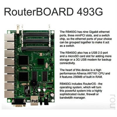 RouterBOARD 493G, 9x LAN, 3x MiniPCI, 1x USB, 256MB DDR SD-RAM i 64MB FLASH