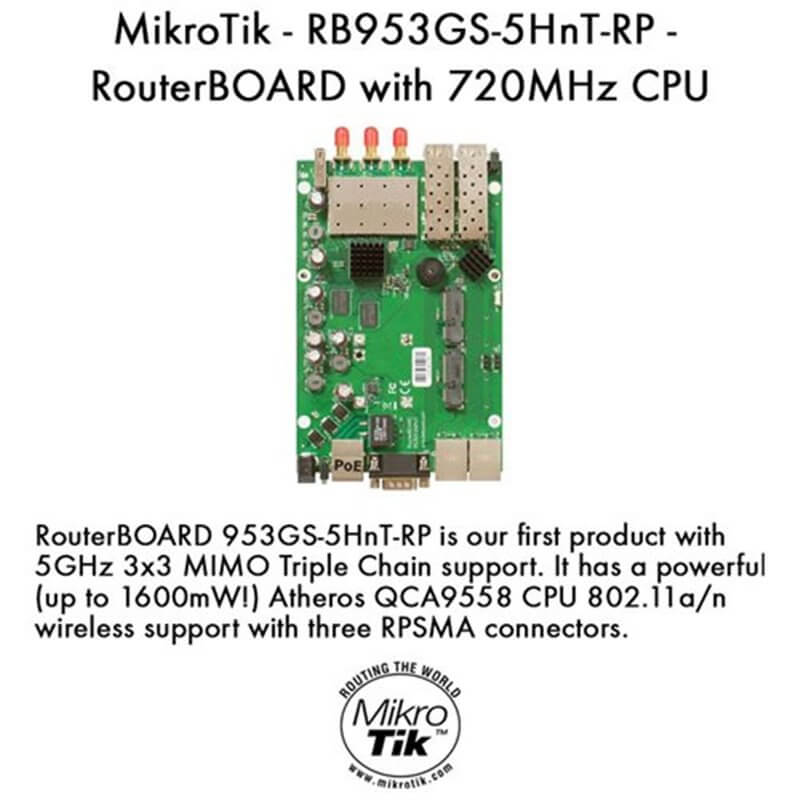 MikroTik RouterBOARD RB953GS-5HnT-RP (3x RPSMA)