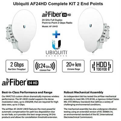 AirFiber 24-HD, 2Gbps+ 24GHz AF24HD X 2 UNITS KIT
