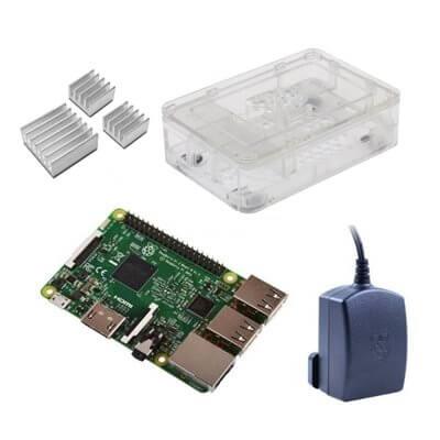 Raspberry Pi 3 Kit con Alimentatore Ufficiale, Case TRASPARENTE  e Dissipatori (E14)