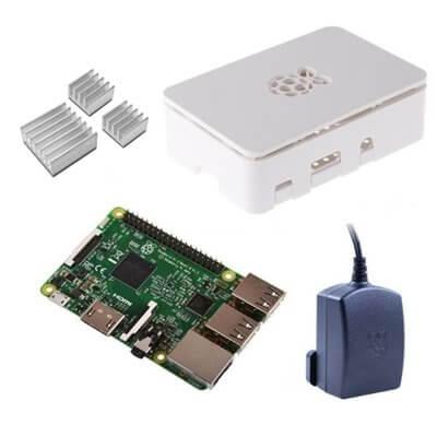 Raspberry Pi 3 Kit con Alimentatore Ufficiale, Case BIANCO  e Dissipatori (E15)