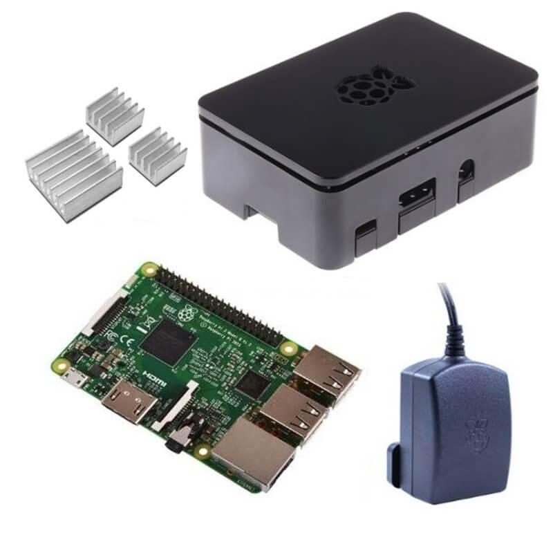 Raspberry Pi 3 Kit con Alimentatore Ufficiale, Case NERO  e Dissipatori (E16)