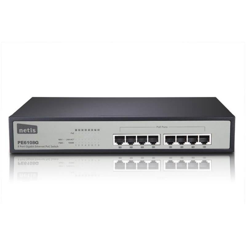 NETIS PE6108G 8 Port Gigabit Ethernet PoE Switch/8 Port PoE/802.3at/af