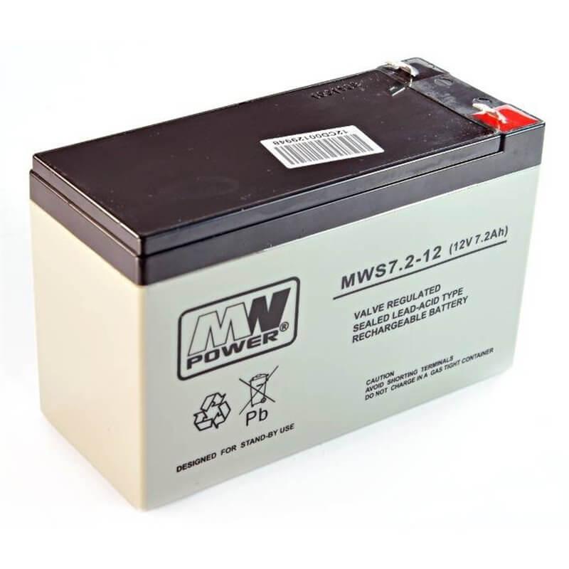 Batteria Ermetica Ricaricabile al Piombo MW POWER  12V Volt 7.5Ah 7,2 Ah 7 Ah - MWS 7,2-12  LONG LIFE