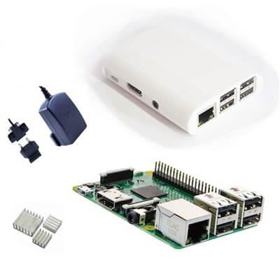 Raspberry Pi 3 Kit con Alimentatore Ufficiale, Case NERO  e Dissipatori (E18)