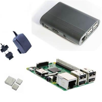 Raspberry Pi 3 Kit con Alimentatore Ufficiale, Case NERO  e Dissipatori (E17)