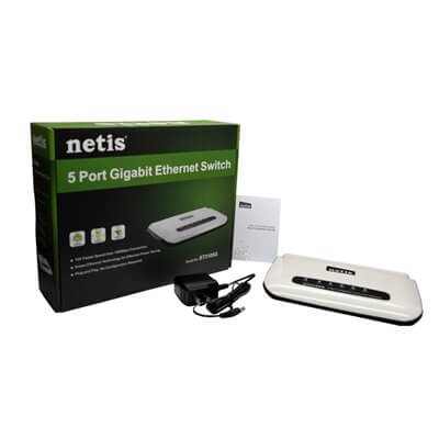 NETIS ST3105G SWITCH LAN 5 PORTE ETHERNET 10/100/1000 MBPS RJ45 GIGABIT HUB