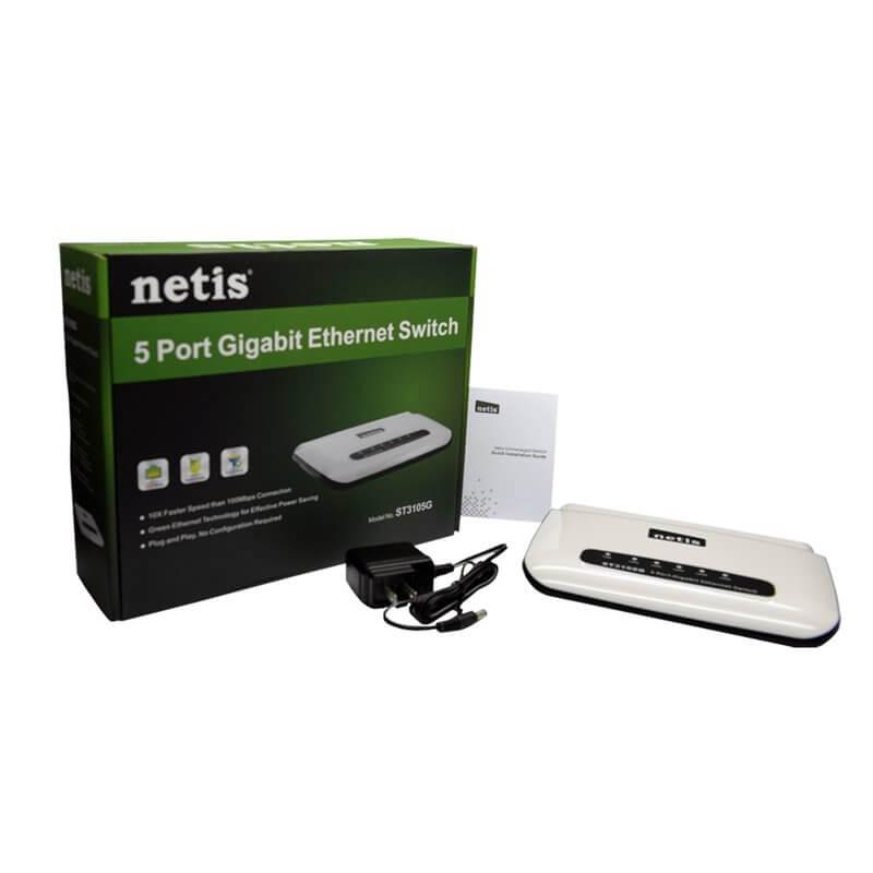 NETIS ST3105G SWITCH LAN 5 PORTE ETHERNET 10/100/1000 MBPS RJ45 GIGABIT HUB