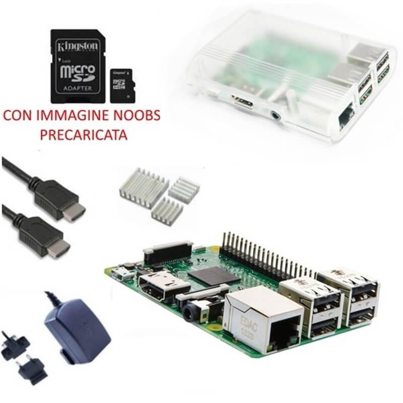 Raspberry Pi 3 Kit con con Alimentatore, Case, SD, HDMI e Dissipatori (E22)
