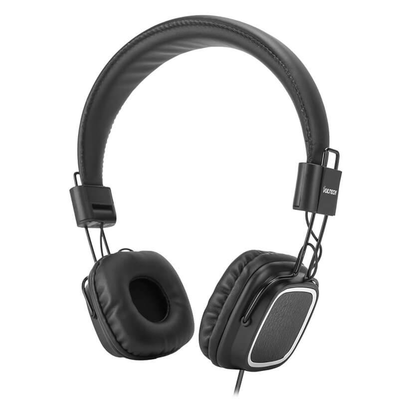 VULTECH CUFFIE HEADPHONE CON MICROFONO E REGOLATORE VOLUME - COLORE NERO - HD-08N